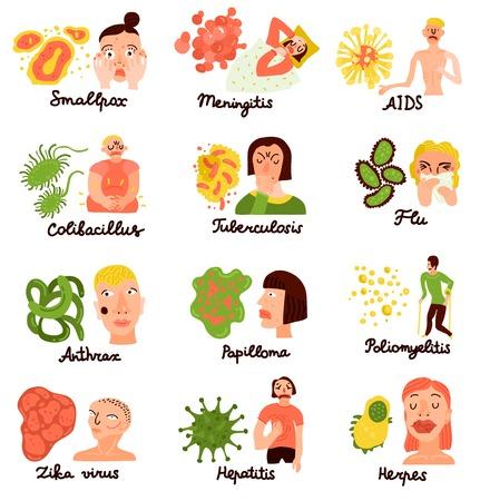 Vírus humanos e patologia associada 12 coleção de ícones plana com gripe ajuda a hepatite meningite isolado ilustração vetorial