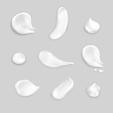 Cosmetic cream smears realistic icon set several drops and smears of thick white cream vector illustration Illustration