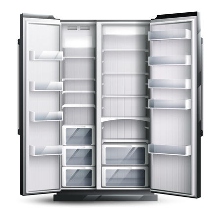 Refrigerator organization monochrome design concept with opened empty wider fridge on white background in realistic style vector illustration Reklamní fotografie - 93895143