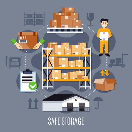 安全な保管と作業の種類を持つ着色されたフラット倉庫構成ベクトルイラスト