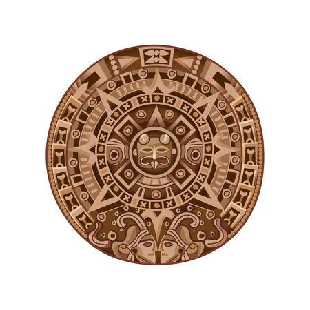 Round ancient mayan calendar colored isolated decorative element on white background cartoon vector illustration