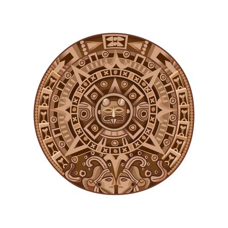 Runder alter Mayakalender färbte lokalisiertes dekoratives Element auf weißer Hintergrundkarikatur-Vektorillustration