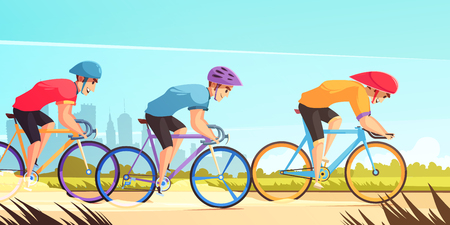 Country road bicycle racing competition cartoon poster with three riders in uniform jerseys and helmets vector illustration