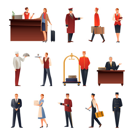 Hotel staff set of flat gradient icons with manager, doorman, guard, maid, chef, receptionist isolated vector illustration  Vectores