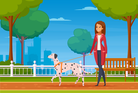 Colored cartoon background with young woman walking in city park with her dog of dalmatian breed vector illustration