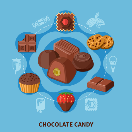 Flat round composition with chocolate bar, candies of various shape, cookie on blue background vector illustration