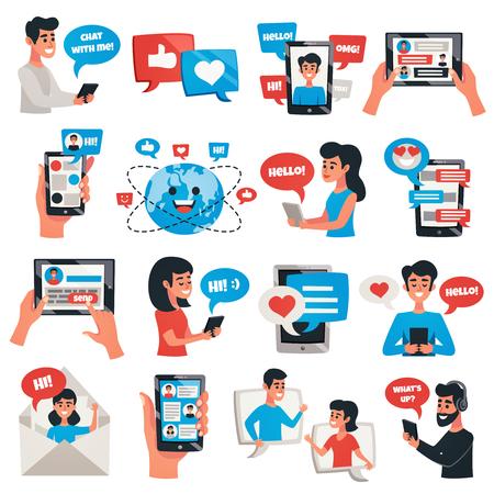 Dispositivos móveis de comunicação eletrônica para mensagens de bate-papo falando coleção ícones plana com ilustração em vetor smartphone tablet isolado Ilustración de vector