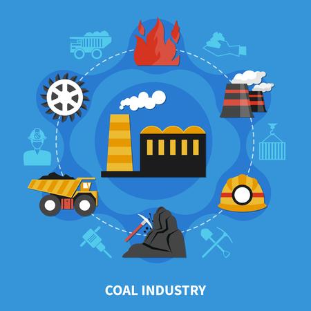 Conceito de indústria de mineração de carvão na ilustração em vetor plana fundo azul Foto de archivo - 93895152