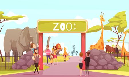 Affiche de dessin animé de portes d'entrée de zoo avec animaux lion lion éléphant girafe et visiteurs sur illustration vectorielle territoire Banque d'images - 93926867