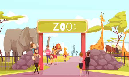 Zoo entrance gates cartoon poster with elephant giraffe lion animals and visitors on territory vector illustration