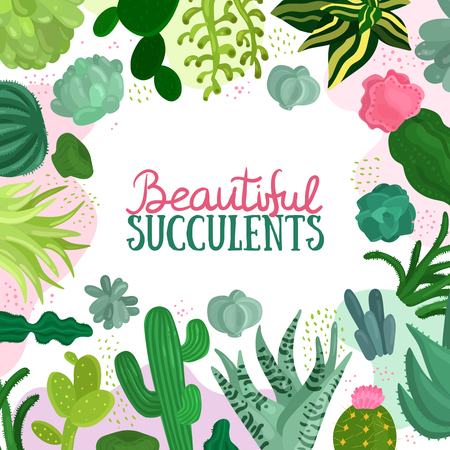 Succulents decorative frame with different types of cactuses flat vector illustration