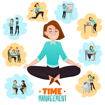 Multitasking flat vector illustration with young business woman meditating in lotus pose after hard work day 일러스트