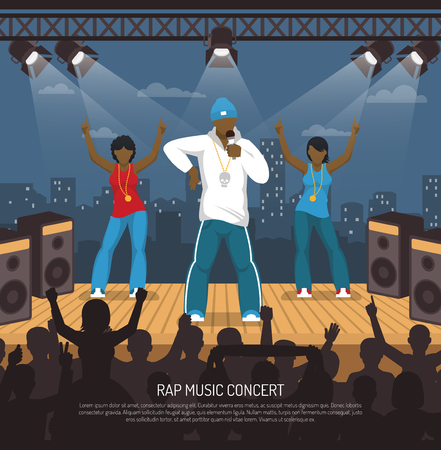 Rap music concert with singer and two ladies onstage performance under beam lights illustration. Illustration