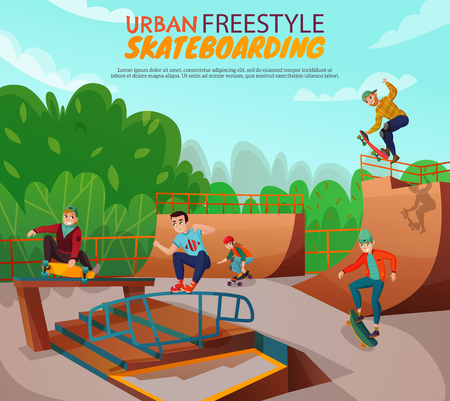 Urban skateboarding background with group of teenage boys training in freestyle on skate ramp cartoon vector illustration