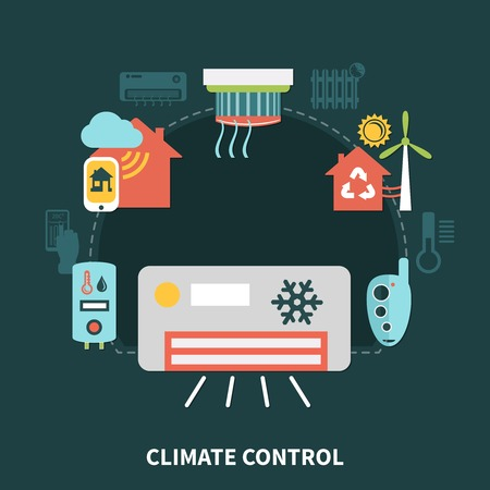 Home climate control composition on black background with conditioner, water heater, control system on smartphone vector illustration