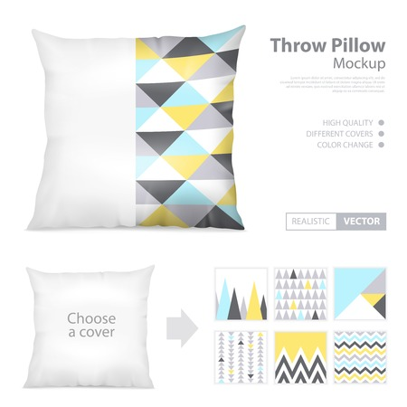 Realistic decorative white and printed covers throw pillows mockup creator webpage layout with 6 patterns choice vector illustration