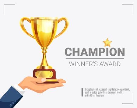 레터링 벡터 일러스트와 함께 황금 트로피와 함께 빛나는 스포츠 주요 이벤트 수상자 챔피언 수상 발표