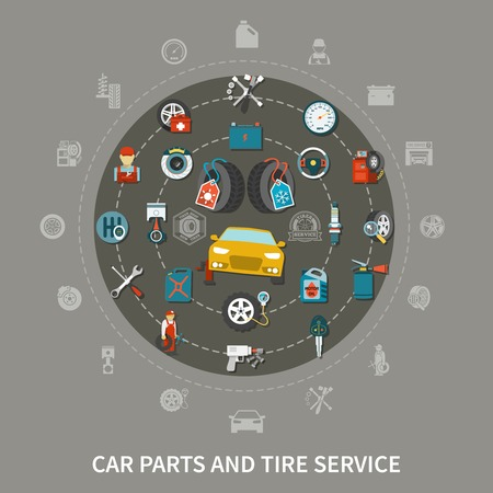 Flat design concept with tire service equipment and car spares on grey background vector illustration