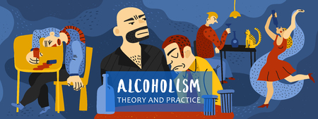 Alcohol addiction composition with theory and practice symbols flat concept illustration Illustration