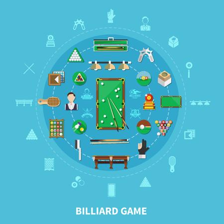 Billiards round composition on blue background concept illustration.