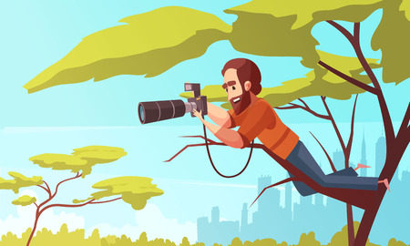 Paparazzi composition with urban scenery and male character sitting in a tree with telescopic lens photo camera vector illustration