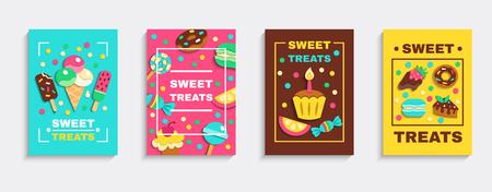 Set van zoete gebakken desserts reclame poster illustratie.