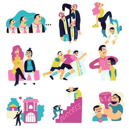 De concurrerende die pictogrammen met sporten en relaties worden geplaatst isoleerden vlak vectorillustratie Stock Illustratie