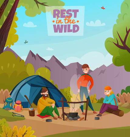 Camping people illustration with three human characters having outdoor rest break in the wild environment vector illustration Ilustração
