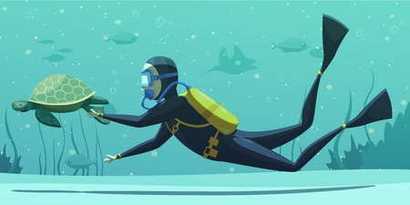 Underwater swimming with scuba diving equipment suit snorkel mask fins flat poster with sea turtle vector illustration