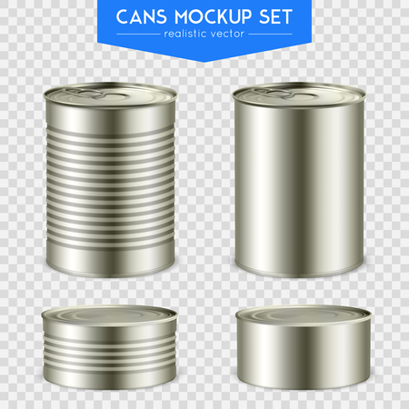 Four realistic cylindrical tin mock-up cans. Various height with top and bottom set transparent background. Vector illustration. Çizim