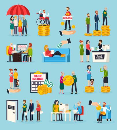 Ícones ortogonais de segurança social conjunto com proteção familiar, deficiência e benefícios de desemprego, documentos execução ilustração vetorial isolado