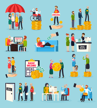 Social security orthogonal icons set with family protection, disability and unemployment benefits, documents execution isolated vector illustration