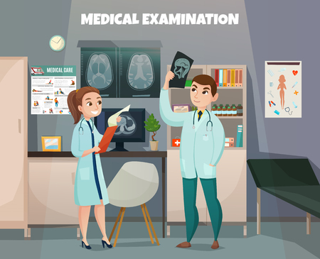 Doctors profession composition with clinic office room environment interior elements and human characters with ultrasonography baby shots vector illustration