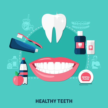 Healthy teeth design concept with white smile and items for dental hygiene flat icons vector illustration Illustration