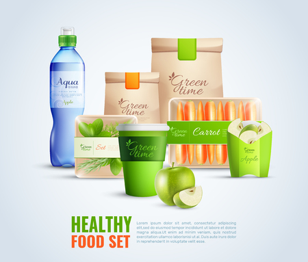 Packaging template of healthy street food and drink with brand identity, composition on light background vector illustration