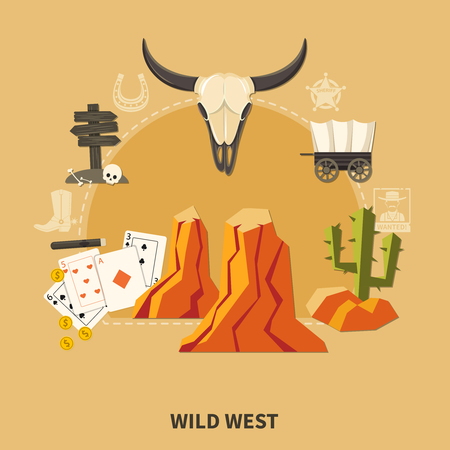 Wild west composition with prairie elements, cow skull, playing cards, wooden signpost on sand background vector illustration