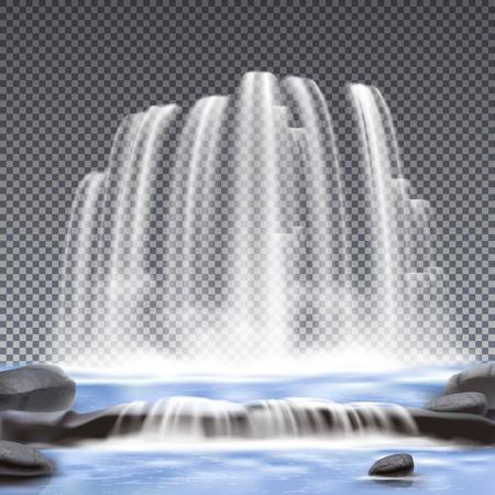 Realistische watervallen transparante achtergrond voor decoratie vectorillustratie
