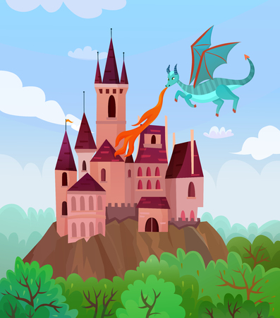 Fairy dragons composition with flat cartoon style images of flying fire-breathing dragon and castle landscape vector illustration