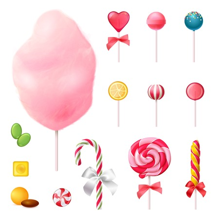 Sweets set of realistic icons with decorated lollipops, cotton candy on stick, colorful caramels isolated vector illustration Vectores