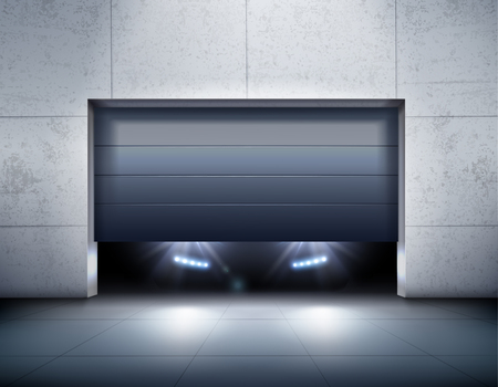 Garage and car realistic background with garage door and light realistic vector illustration Stock Illustratie