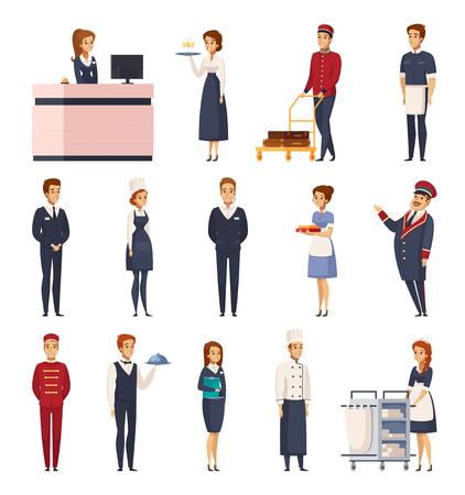 Hotelpersonal-Karikatursatz lokalisierte Ikonen, die Hotelpage-Portierrezeptionsmitarbeiter-Hotelpage-Chef-Hausmeister-Kellner-Vektorillustration darstellen