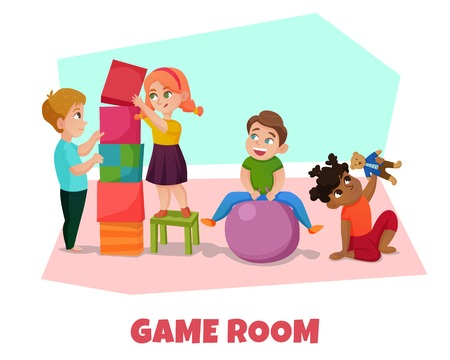 Game room with kids toys and playing symbols flat vector illustration