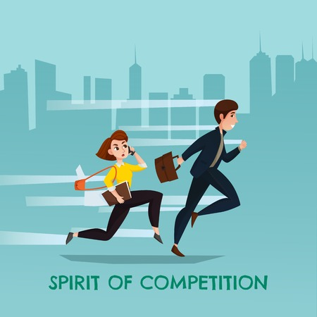 Spirit of competition urban poster with running young man and woman used in business trying overtake each other flat vector illustration