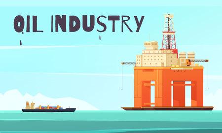 벡터 일러스트 레이 션을 추출하는 석유에 대 한 플랫 바다 경관과 긴장 다리 해외 플랫폼 석유 생산 업계의 구성 일러스트