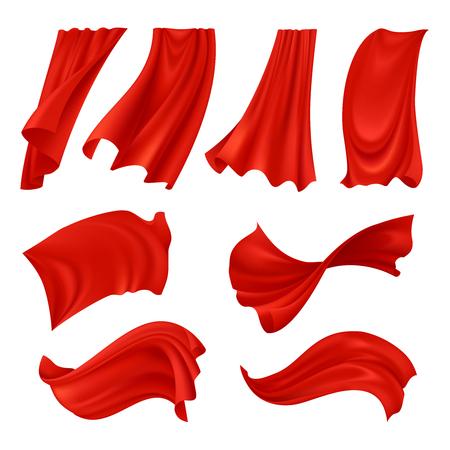 Conjunto de pano vermelho ondulante realista de tecidos em várias posições isoladas na ilustração vetorial de fundo branco