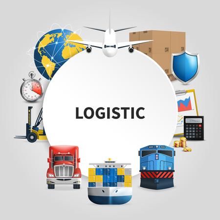 丸枠で組み合わせた商品を配送する輸送手段を備えたロジスティクスラウンド構成。ベクトルイラスト。  イラスト・ベクター素材