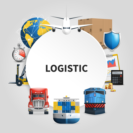 Logistic round composition with means of transport to deliver goods combined in round frame. Vector illustration. Illustration