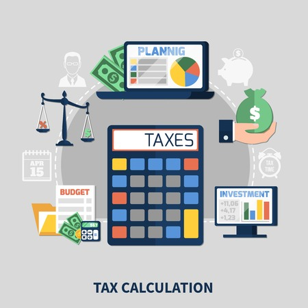 Tax calculation flat composition with budget planning, financial charts on computer screens on grey background vector illustration
