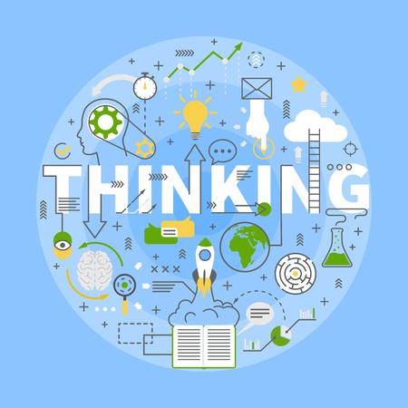メンタルコンセプトシンボルは、思考思考の球状構成の動きパターンフラットブルー背景ポスターベクトルイラスト