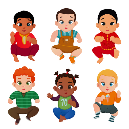 Baby international set with different races and nationalities symbols flat isolated vector illustration